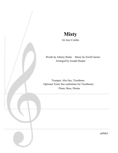 Misty Stock Arrangement For 3 Horns And Rhythm Section