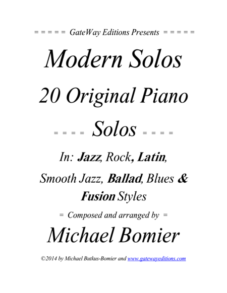 Modern Solos For The Piano Jazz Rock Latin Smooth Jazz And Blues Music
