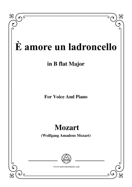 Mozart  Amore Un Ladroncello From Cosi Fan Tutte In B Flat Major For Voice And Piano