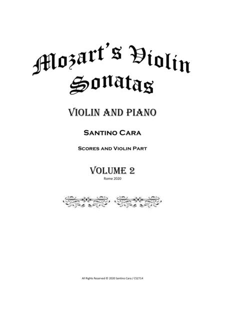 Mozart 11 Violin Sonatas Book 2 For Violin And Piano Scores And Part