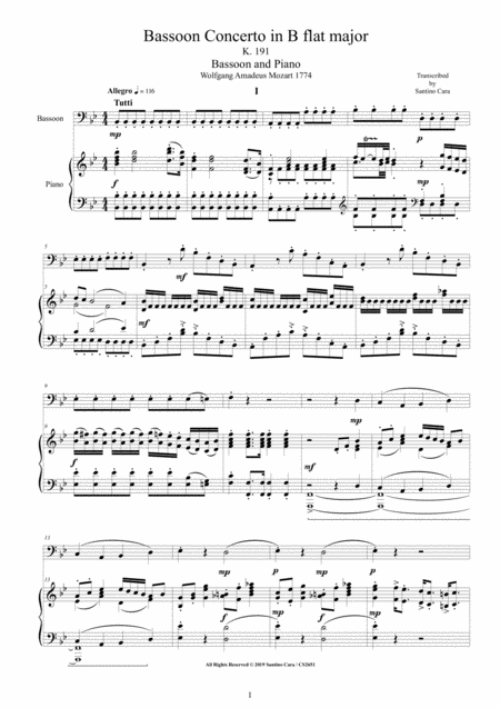 Mozart Bassoon Concerto In B Flat Major K 191 For Bassoon And Piano Score And Part