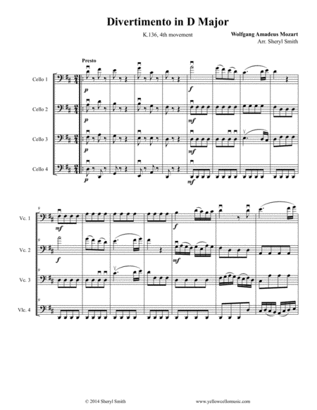 Mozart Divertimento Arranged For Intermediate Cello Quartet Four Cellos K 136