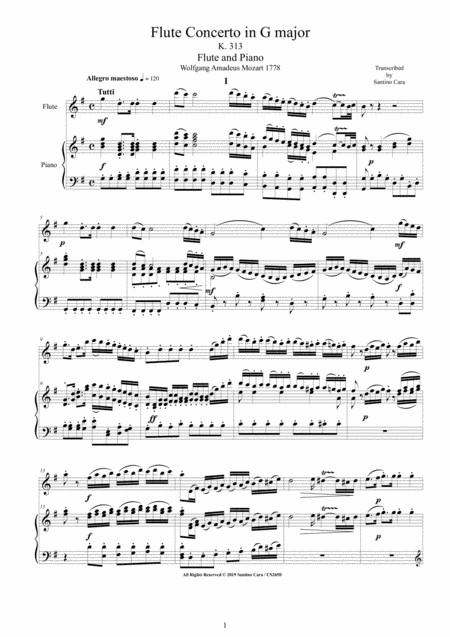 Mozart Flute Concerto In G Major K 313 For Flute And Piano Score And Part