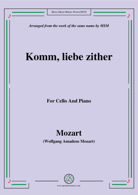 Mozart Komm Liebe Zither For Cello And Piano