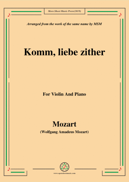 Mozart Komm Liebe Zither For Violin And Piano