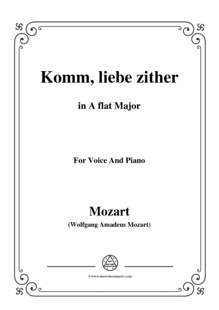 Mozart Komm Liebe Zither In A Flat Major For Voice And Piano