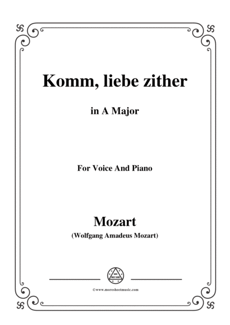 Mozart Komm Liebe Zither In A Major For Voice And Piano