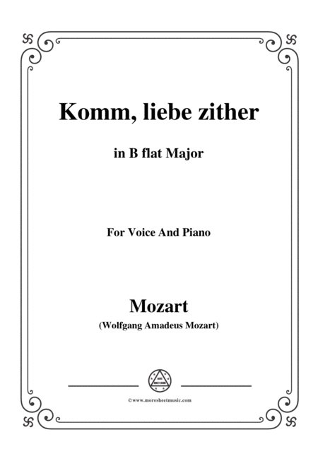 Mozart Komm Liebe Zither In B Flat Major For Voice And Piano