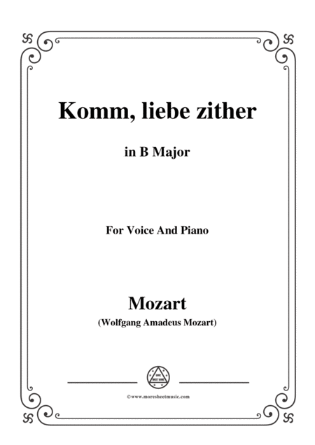 Mozart Komm Liebe Zither In B Major For Voice And Piano