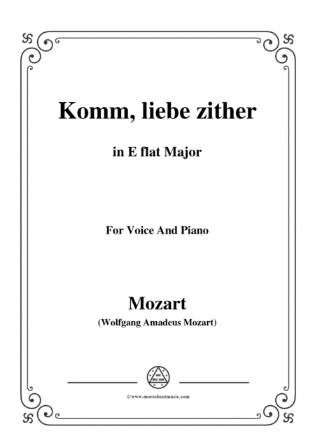 Mozart Komm Liebe Zither In E Flat Major For Voice And Piano