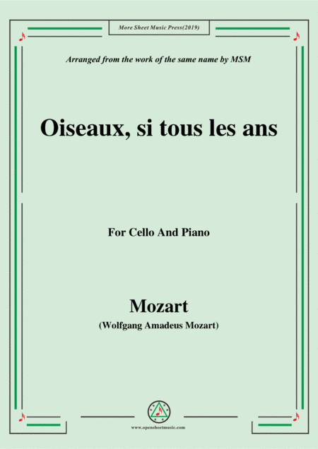 Mozart Oiseaux Si Tous Les Ans For Cello And Piano