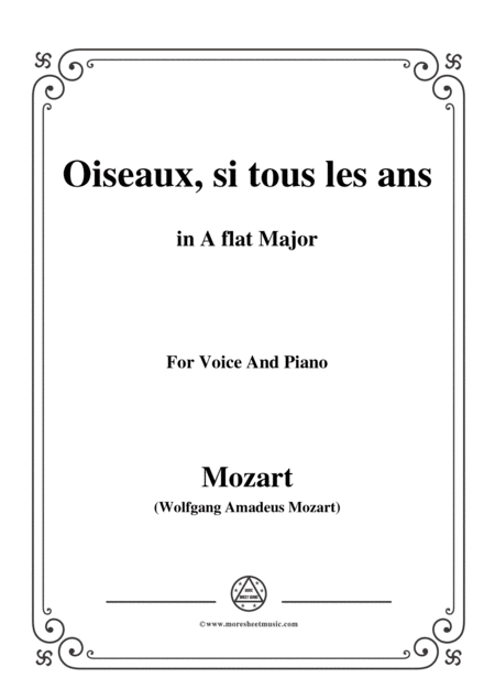 Mozart Oiseaux Si Tous Les Ans In A Flat Major For Voice And Piano