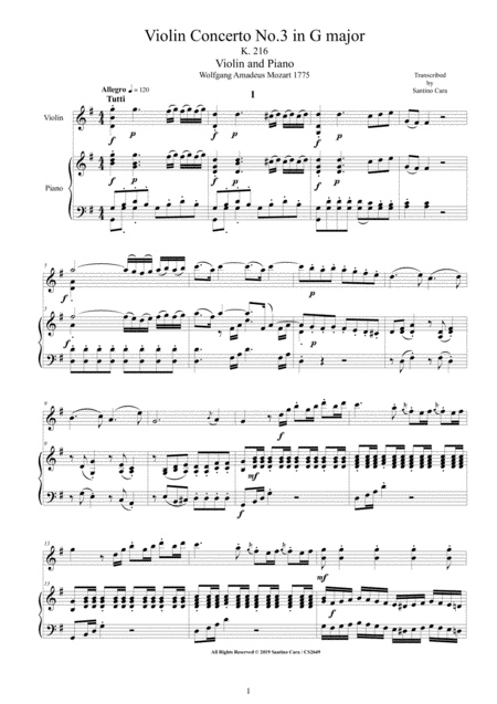 Mozart Violin Concerto No 3 In G Major K 216 For Violin And Piano Score And Part
