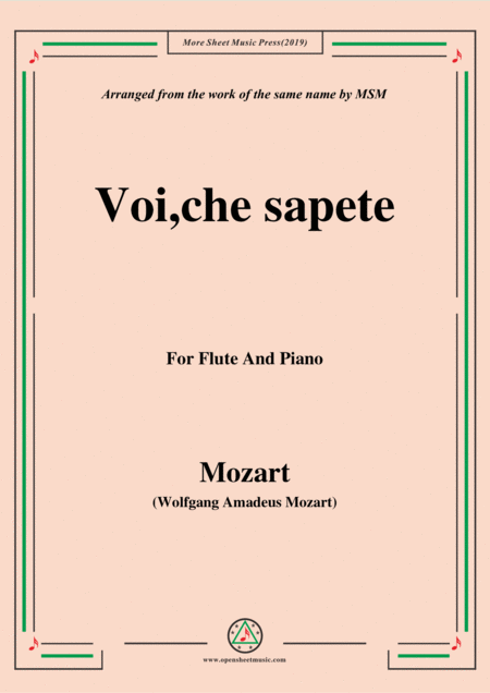 Mozart Voi Che Sapete For Flute And Piano