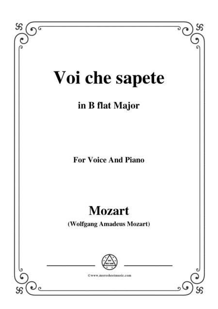 Mozart Voi Che Sapete From Le Nozze Di Figaro In B Flat Major For Voice And Piano