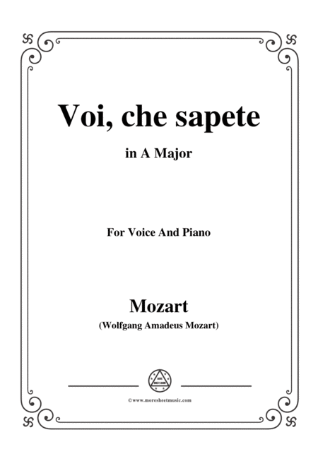 Mozart Voi Che Sapete In A Major For Voice And Piano