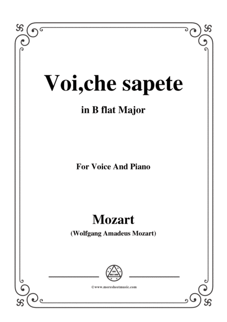 Mozart Voi Che Sapete In B Flat Major For Voice And Piano