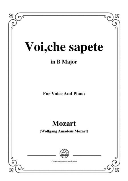 Mozart Voi Che Sapete In B Major For Voice And Piano