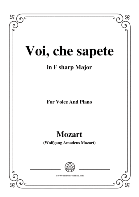 Mozart Voi Che Sapete In F Sharp Major For Voice And Piano
