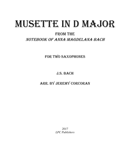 Musette In D Major For Two Saxophones