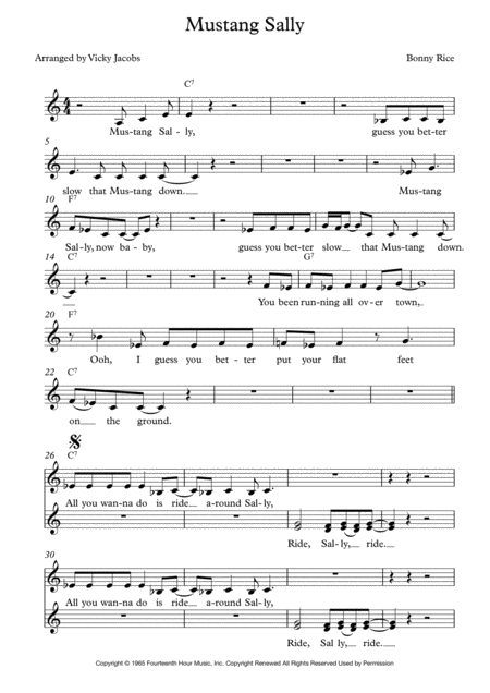 Mustang Sally Lead Sheet For Singalongs