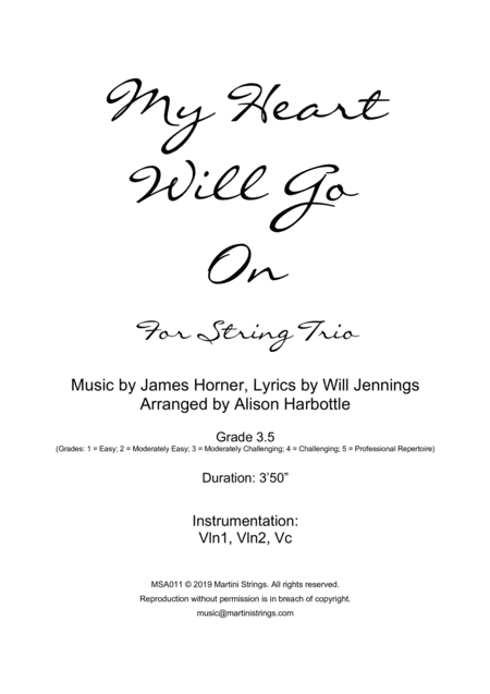 My Heart Will Go On Love Theme From Titanic String Trio