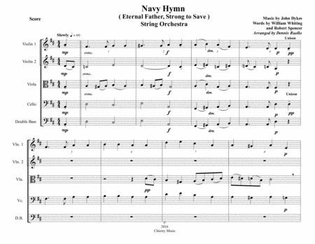 Navy Hymn Eternal Father Strong To Save String Orchestra Intermediate