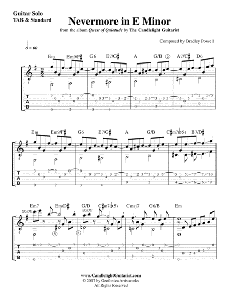 Nevermore In E Minor Tab Plus Standard Notation