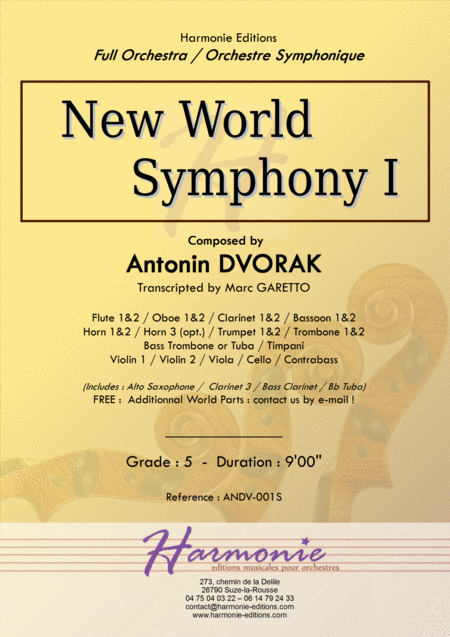New World Symphony 1st Movement Antonin Dvorak Full Orchestra Transcripted By Marc Garetto