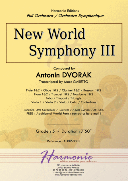 New World Symphony 3rd Movement Antonin Dvorak Full Orchestra Transcripted By Marc Garetto