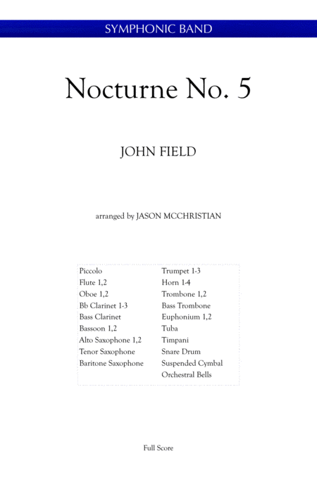 Nocturne No 5 John Field Arranged For Symphonic Band By Jason Mcchristian