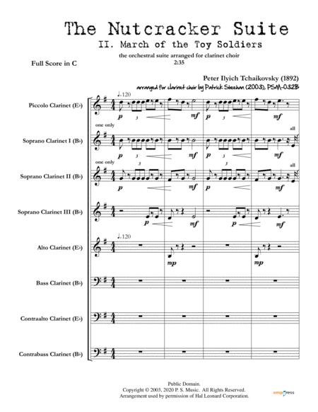 Nutcracker Suite Mvt Ii March Of The Toy Soldiers For Clarinet Choir Full Score Set Of Parts
