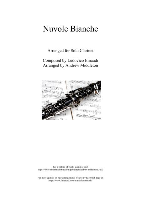 Nuvole Bianche Arranged For Unaccompanied Clarinet