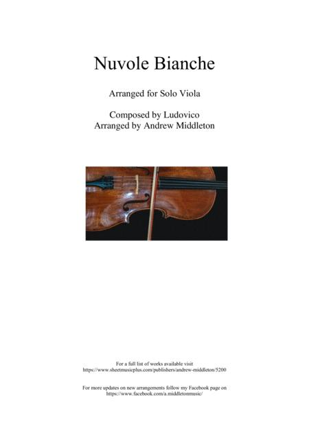 Nuvole Bianche Arranged For Unaccompanied Viola