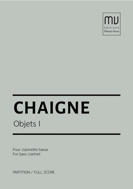Objets I For Solo Bass Clarinet