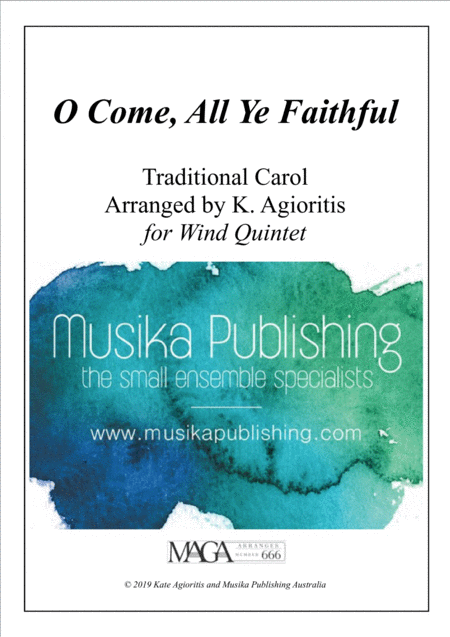 O Come All Ye Faithful Traditional Arrangement For Wind Quintet