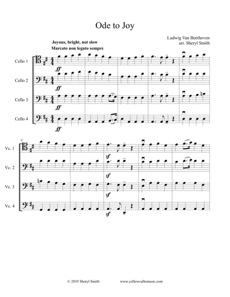 Ode To Joy From Beethoven Symphony No 9 Arranged For Intermediate Cello Quartet Four Cellos