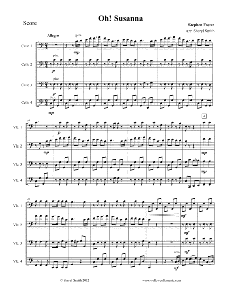 Oh Susanna For Intermediate Cello Quartet Four Cellos