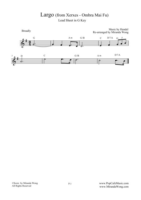 Ombra Mai Fu Lead Sheet In G Key Violin Or Flute Solo