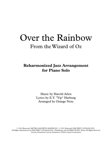Over The Rainbow From The Wizard Of Oz Jazz Reharmonization
