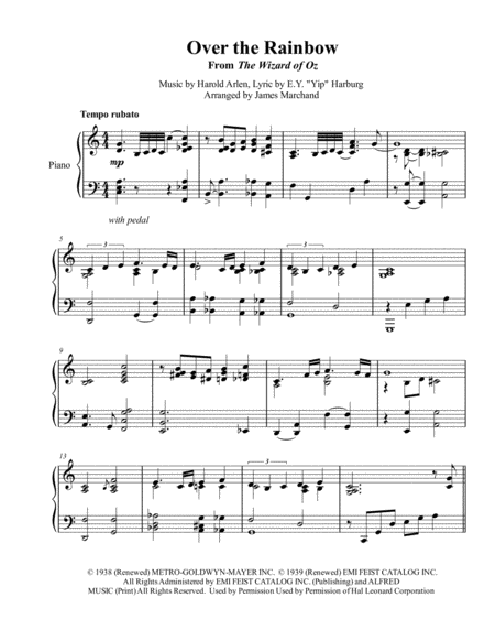 Over The Rainbow Jazz Arrangement