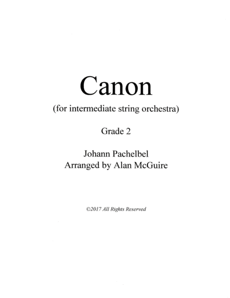 Pachelbel Canon For Intermediate String Orchestra