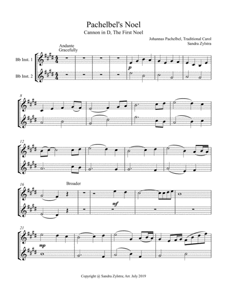 Pachelbels Noel Treble Bb Instrument Duet Parts Only