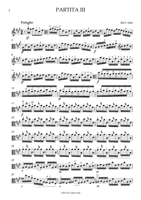 Partita In E Major Bwv 1006 Transcribed For Viola In A Major