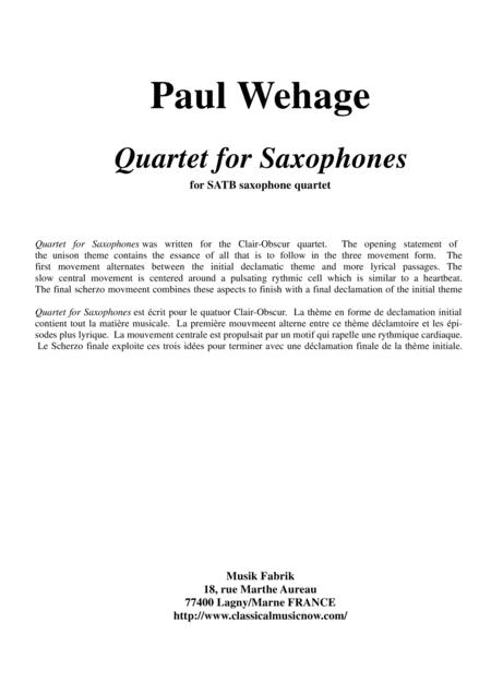 Paul Wehage Quartet For Saxophones For Satb Saxophone Quartet