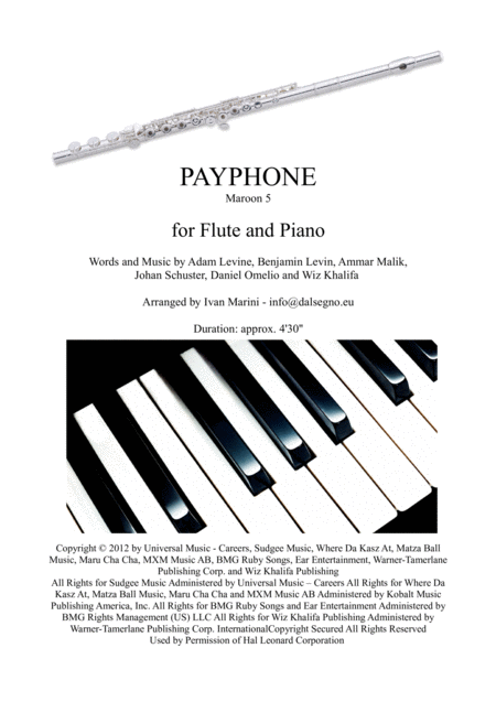 Payphone By Maroon 5 For Flute And Piano