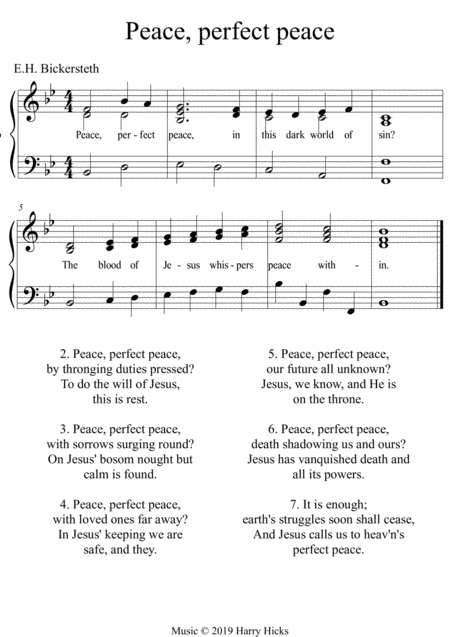 Peace Perfect Peace A New Tune To A Wonderful Old Hymn