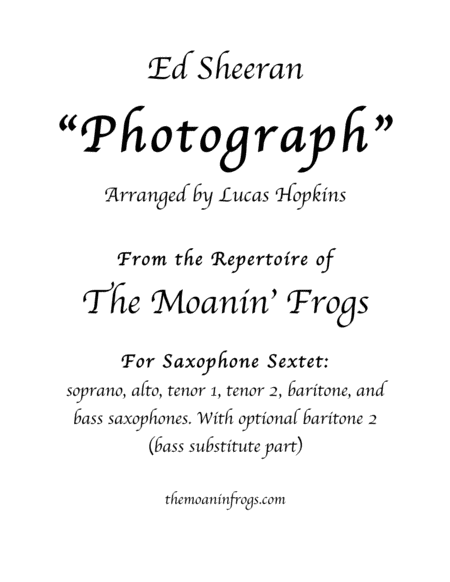 Photograph For Saxophone Sextet