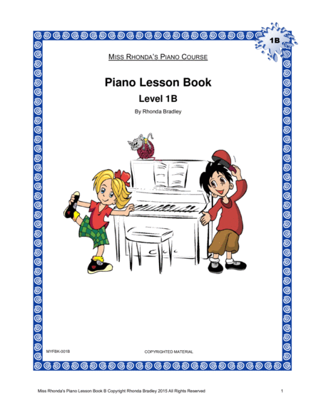 Piano Lesson Book 1b Miss Rhondas Piano Course For Kids