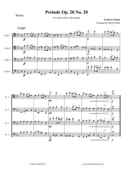 Piano Prelude No 20 For Intermediate Cello Quartet Four Cellos Op 28